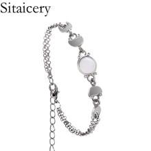 Sitaicery Bohemian Geometric Stone Bead Bracelet for Women Vintage Moon Female Woven Bracelets Jewelry Accessories Wholesale