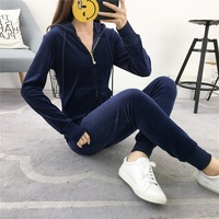spring autumn sporting Suits Women Velvet Tracksuits Hooded Jacket Skinny Pants 2 Piece Set Sportswear femme plus size XXL