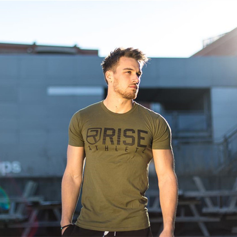 2018 Summer Style Mens   t     shirt   Crossfit Fashion Short Sleeve Gyms Fitness Bodybuilding   T  -  shirt   Men Workout Slim Cotton Tee Tops