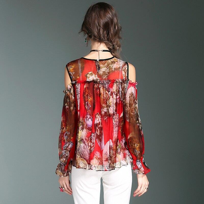 European Summer Women Blouses 2017 TaYingLou Mulberry Silk Spliced Fashion Printed Tops O-Neck Long Sleeve Shirt 71136