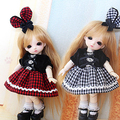 Sweet Cute Western Style Gird Dress/Suit(2pc) For 16cm16Lati-Y/Pukifee BJD Clothes
