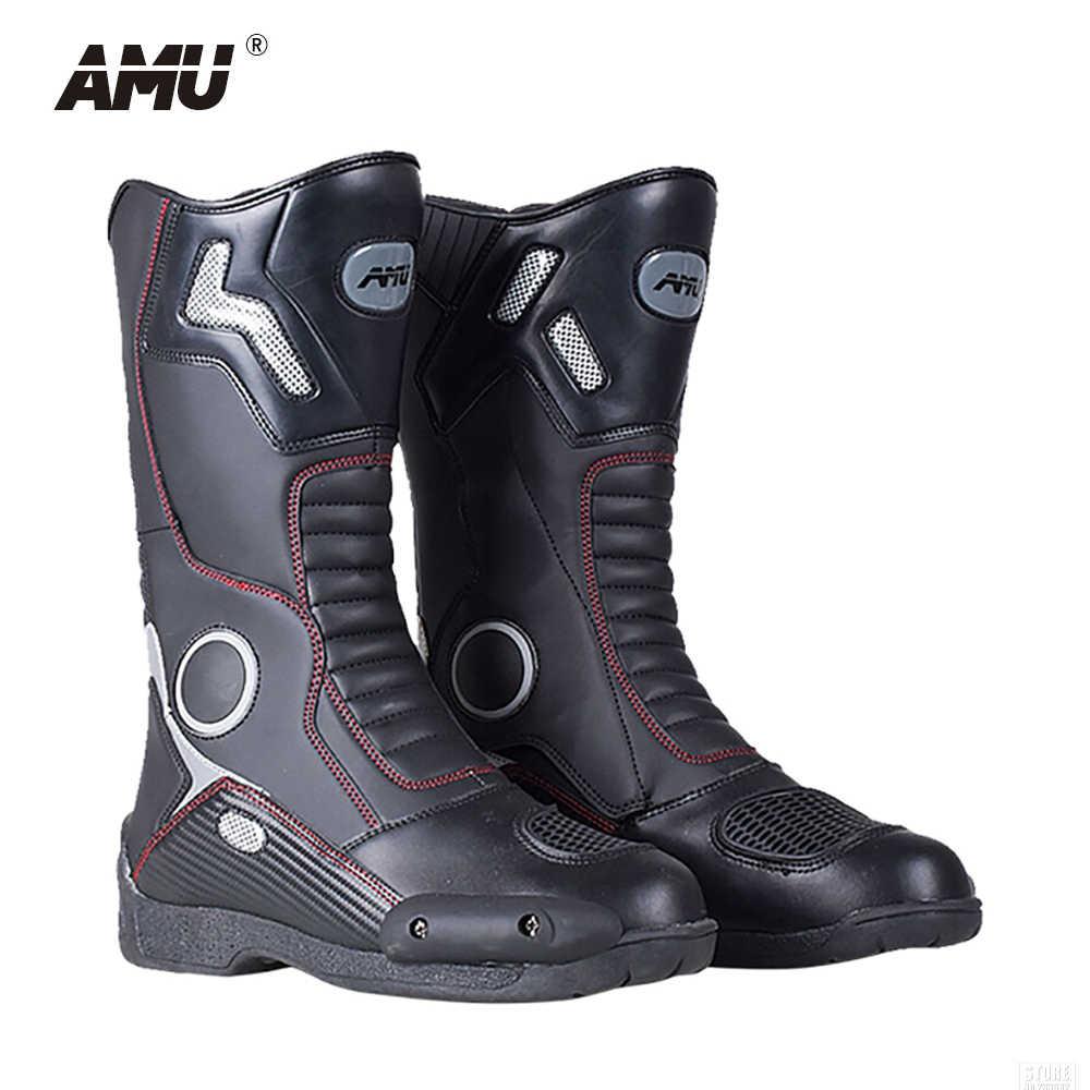 AMU/мотоциклетные сапоги кожаные для мотокросса Botas мотоботы верховой езды