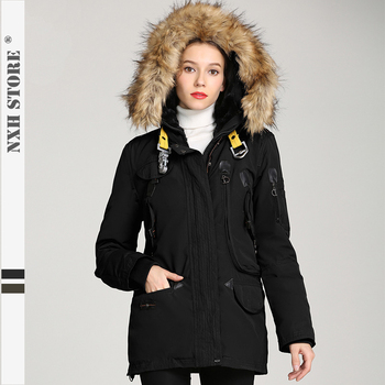 NXH Fashion 2019 Focus New style Womens long coat  fur parka Winter coat thick jacket lining wool Exquisite workmanship -30C