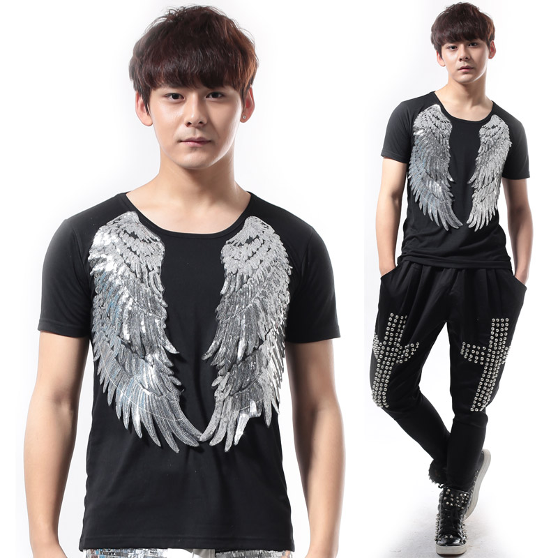 The host stage performance clothing Slim sequined cotton short-sleeved T-shirt DS short-sleeved mens DJ chorus costumes