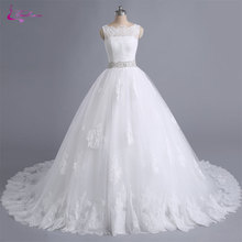 Waulizane Lustrous Ball Gown Wedding Dress Chapel Train