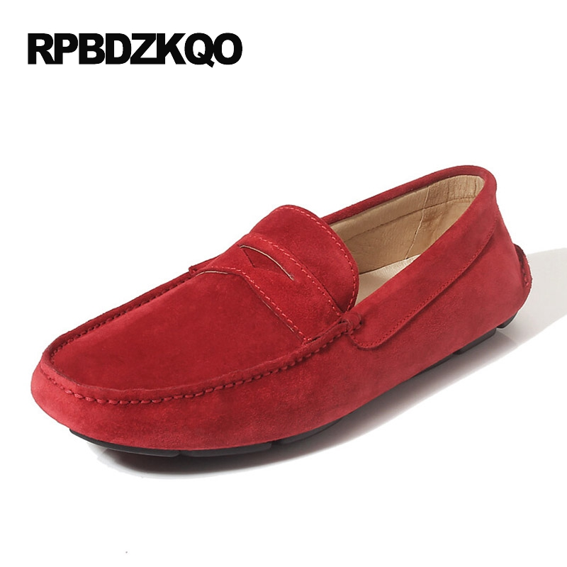 Real   Leather   Blue Black Driving Slip Resistant Red Nubuck Shoes Men New Genuine Moccasins Loafers   Suede   European On Hot Sale