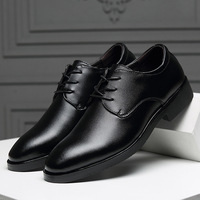 2019 new dress black lace up leather shoes mens spring/autumn round toe brogue shoes male business office wedding shoes A107