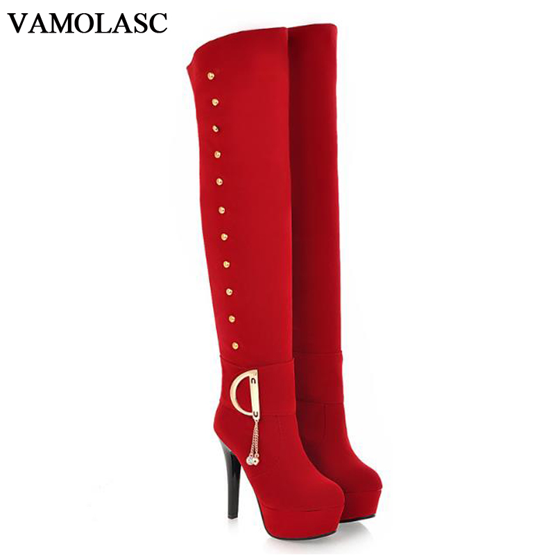 VAMOLASC New Women Autumn Winter Warm Faux Suede Over the Knee Boots Platform Thin High Heel Boots Women Shoes Plus Size 34-43 vamolasc new women spring autumn lace over the knee boots sexy thin high heel boots elegant platform women shoes plus size 34 42
