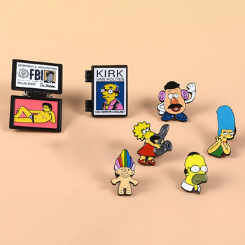 Mr. Burns Lisa Homer Jay Marge Kirk X-Files FBI Fox Mulder Troll Doll Flip Enamel Brooches Pins image
