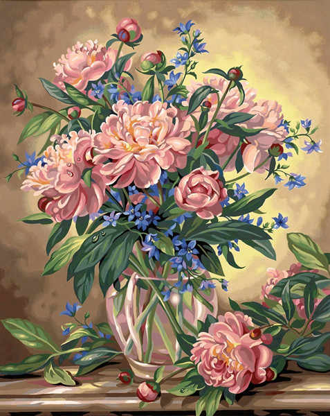 Needlework,DIY Cross stitch,Sets For Full Embroidery kits,Bluebells vase rose daisy flower Print counted Pattern Cross-Stitch