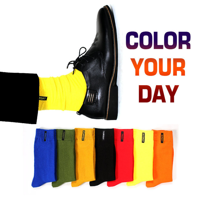 New Mens Colored Cotton High Quality Solid Color Business Casual Week Long Socks 7 Pair
