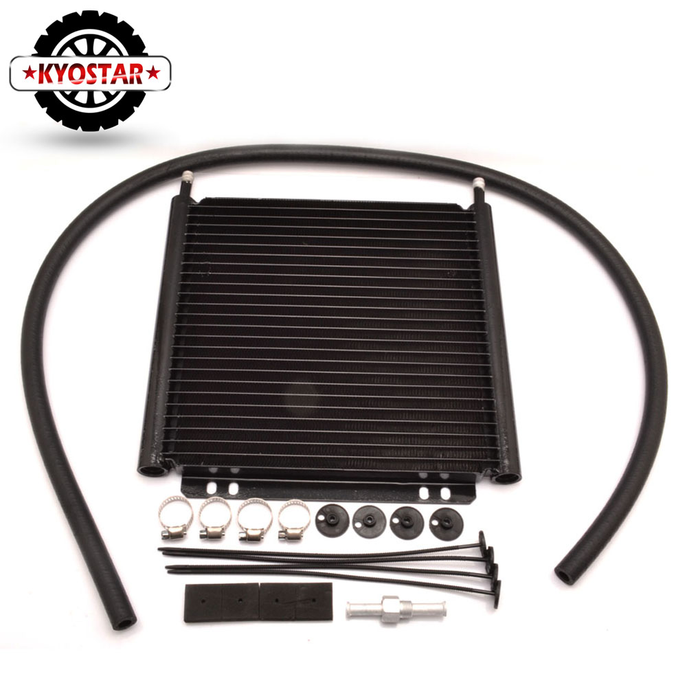 Car Accessories Shops 25Row Engine Oil cooler Kit Aluminum Transmission Oil Cooler Automatic Stacked Plate Oil Cooler Radiator brand new oil cooler cover for 4be1 4bc2 4bf1 npr ks22 8 94438 371 0 oil cooler covers