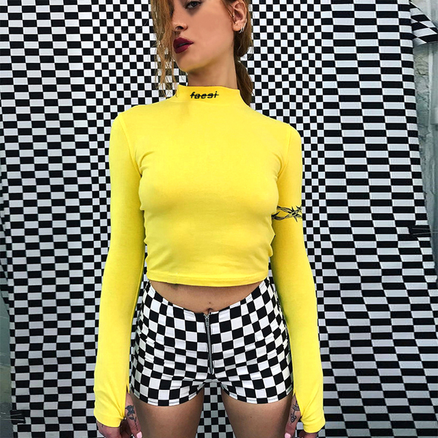 82c6549501c 2018 Fashion Faesi Sexy Crop Tops Women Side Stripe Long Sleeve Turtleneck  Cotton Knitted Short tshirt