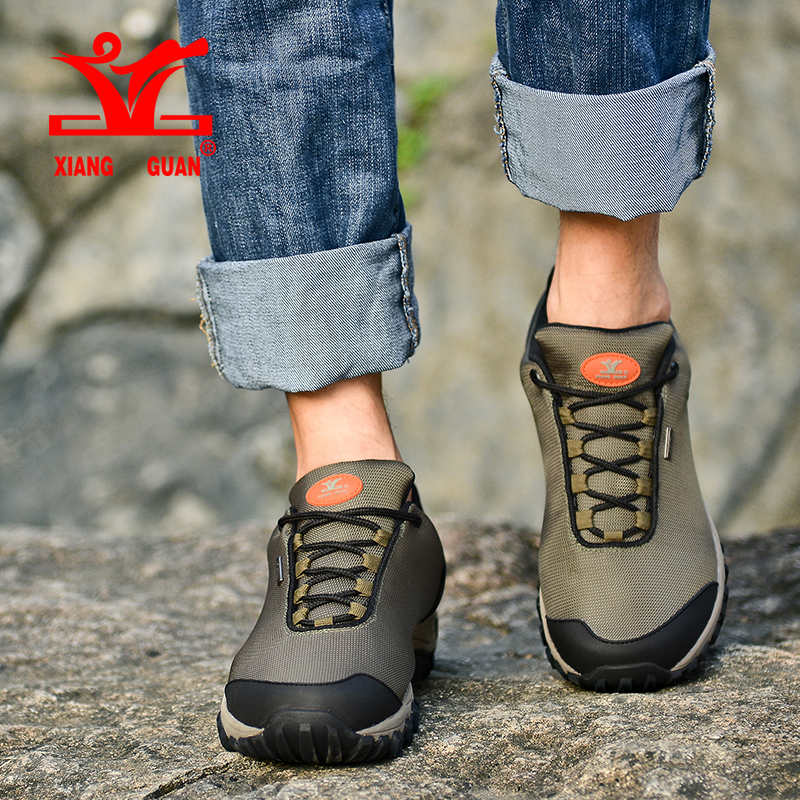 Xiang Guan Men Outdoor Hiking Shoes Grey Outdoor Athletic Trekking Sneakers Anti-skidding Trail Sports Shoes Green Limited Sale ellesse toppo overhead hoody athletic grey marl