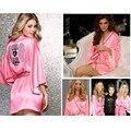 Alta Qualidade New Arrivals Mulheres Sexy Faux Seda Roupões Sleepwear Rosa Plus Size Vestes Camisola para Senhoras Mp1
