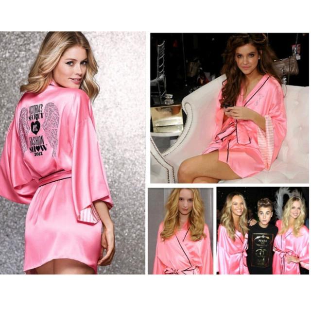 De alta Calidad de Las Nuevas Llegadas Mujeres Sexy Batas Camisón Albornoces ropa de Noche del Faux de Seda Rosa de Talla grande para Damas Mp1