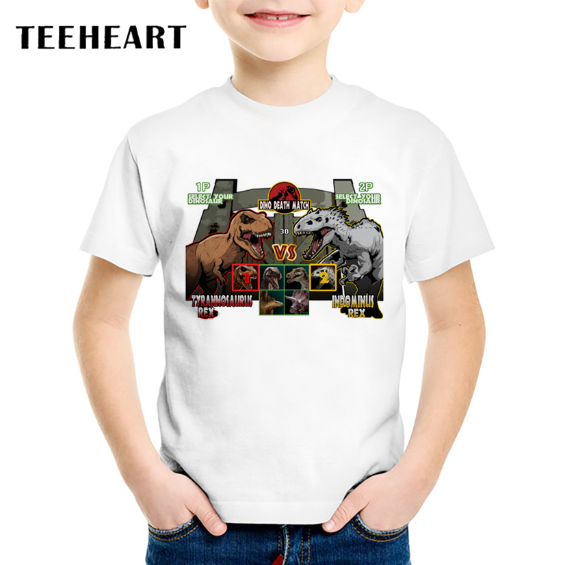 TEEHEART Fashion Summer T shirt Boys/girlss Modal Dinosaur War Game Cartoon Tee Printed T-Shirts 18M-10T Children Tops TA564