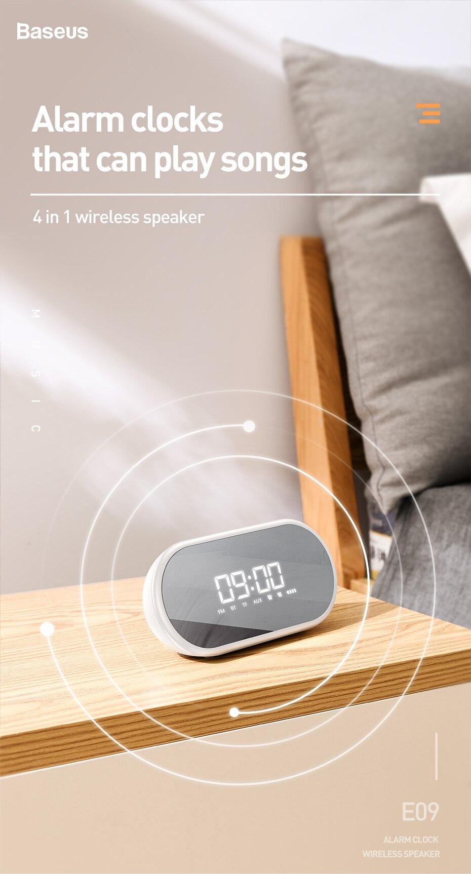 Baseus Encok E09 Wireless Speaker Night light Bluetooth Speaker With Alarm Portable Wireless Loudspeaker For Bedside