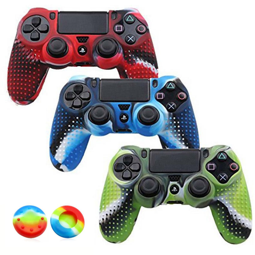 2 in 1 Anti-slip Protector Cover For Dualshock 4 PS4 Slim Pro Controller Studded Skin Premium Protective Soft Silicone Grip Case