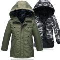 2017 New Winter Children 7-14 years Down Jackets For boys Removable 2pcs Coat Kids Fur Hooded Collar Long Warm Parkas Outerwear