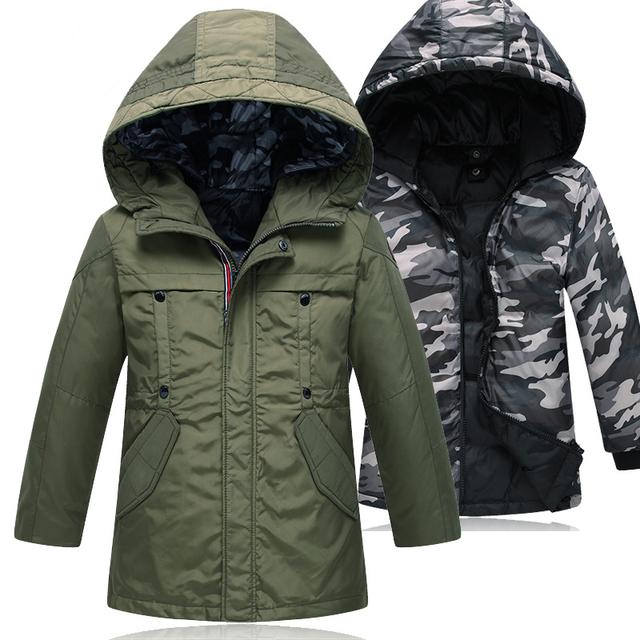 2017 novas crianças inverno 7-14 anos jaquetas para meninos removível 2 pcs Crianças Casaco Gola De Pele Com Capuz Longo Parkas Quentes Outerwear