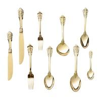12pcs Stainless steel Knife Fork Spoon set Gold Cutlery Christmas Dinnerware Golden Flatware Retro Wedding Dinner Gift Kitchen