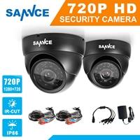 SANNCE AHD 720P 2PCS 1200TVL Dome CCTV Camera Suite 1 0MP Waterproof IR Cut Night Vision