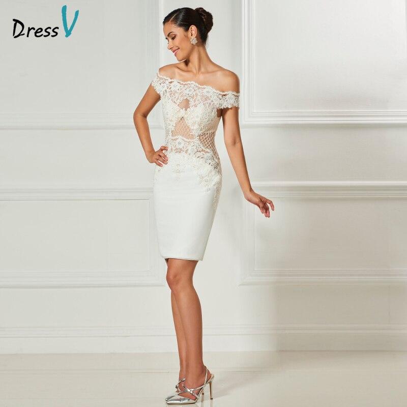 Dressv ivory off the shoulder cocktailkleid elegante knielangen ...