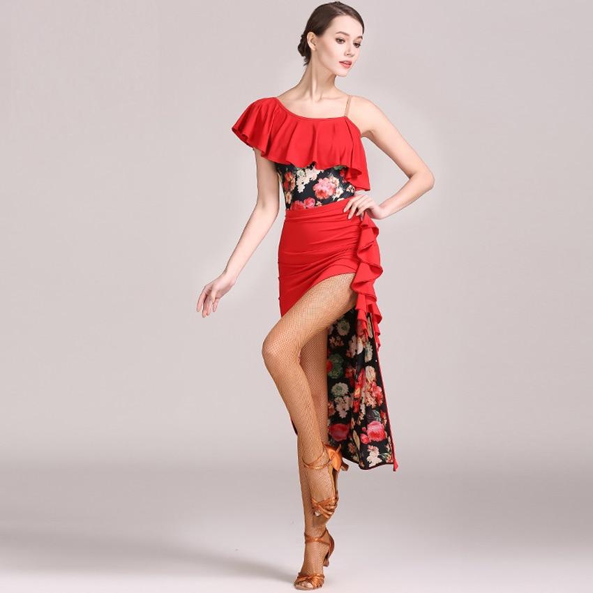 New Latin Cha Cha Salsa Ballroom Dance Mini Skirt Training Dance Skrit Black Red Color