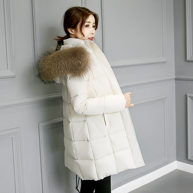 Large Real Natural Raccoon Fur Collar winter jacket women 2017 fashion Thick Warm Loose Coat Outwear Parkas Female Wadded Jacket 2017 autumn winter jacket coat women holes denim long jacket real large raccoon fur collar and faux fur thick warm liner