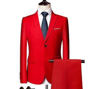 Customized new fashion men's clothing men's suit two-piece suit (coat + pants) men's single button four-quarter sleeve suit