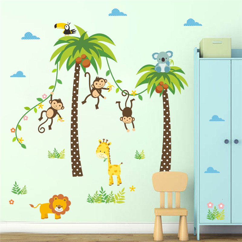 HTB1rK6gQFXXXXbtaFXXq6xXFXXXl - Forest Animals Giraffe Lion Monkey Palm Tree wall stickers for kids room-Free Shipping
