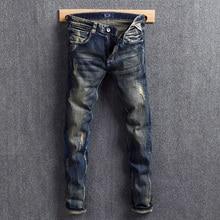 Fashion Streetwear Men Jeans Slim Fit Dark Blue Retro Washed Ripped Printed Designer Punk Pants Hip Hop Homme