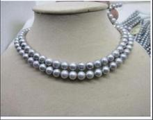 2 ROW 8-9MM GRAY TAHITIAN PEARL NECKLACE 17-18 beloved girl wedding Gift for women sterling-silver-jewelry 2 row 9 10mm aa tahitian black pearl necklace 17 18 925silver yellow clasp