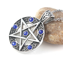 UMY wholesale  stainless steel graceful style pentagram star with six stone beads Energy Symbol pendant necklace lucky jewelry graceful pentagram necklace for women
