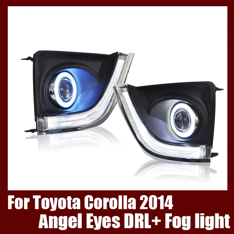 Brand New For Toyota Corolla 2014 COB Angel Eyes DRL with Fog lights Projector Lens Lamp Bumper Cover brand new superb led cob angel eyes hid lamp projector lens foglights for toyota corolla ex 2013