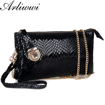 Arliwwi Brand Double Layer Large Capacity Shiny Snake Pattern Women Real Cow Leather Cluth Handbags Bags With Chain Strap