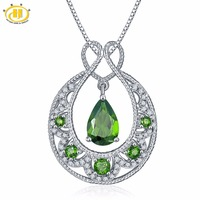 Hutang Solid 925 Sterling Silver 1 71ct Natural Gemstone Chrome Diopside Topaz Pendant Necklace Fine Jewelry