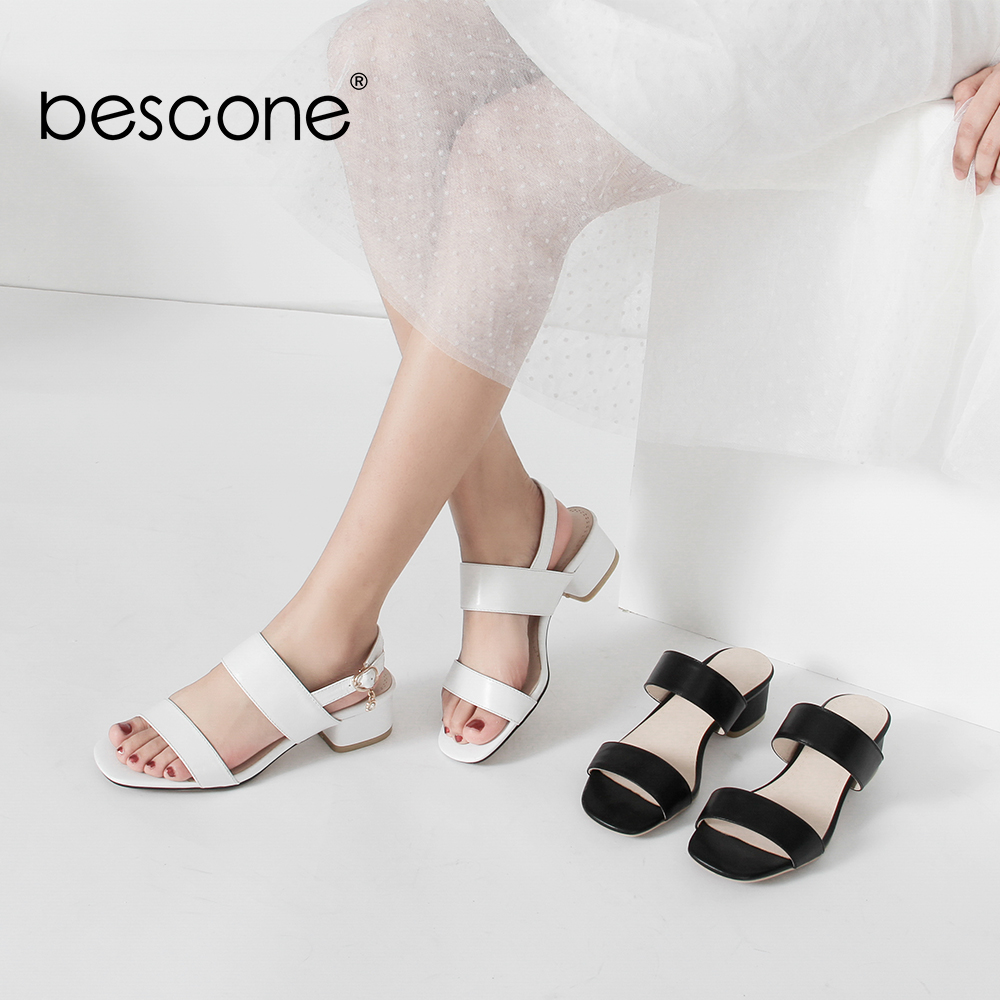 BESCONE Women Sandals Casual Low Square Heels Concise Women For Summer Shoes Genuine Leather Dress Sandals
