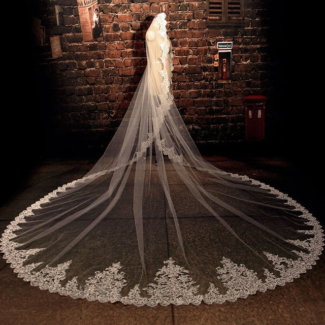 In Stock 3.5 Meters Long Wedding Veil Bridal Veils White / Ivory Lace Edge Wedding Accessories voile mariage 2017