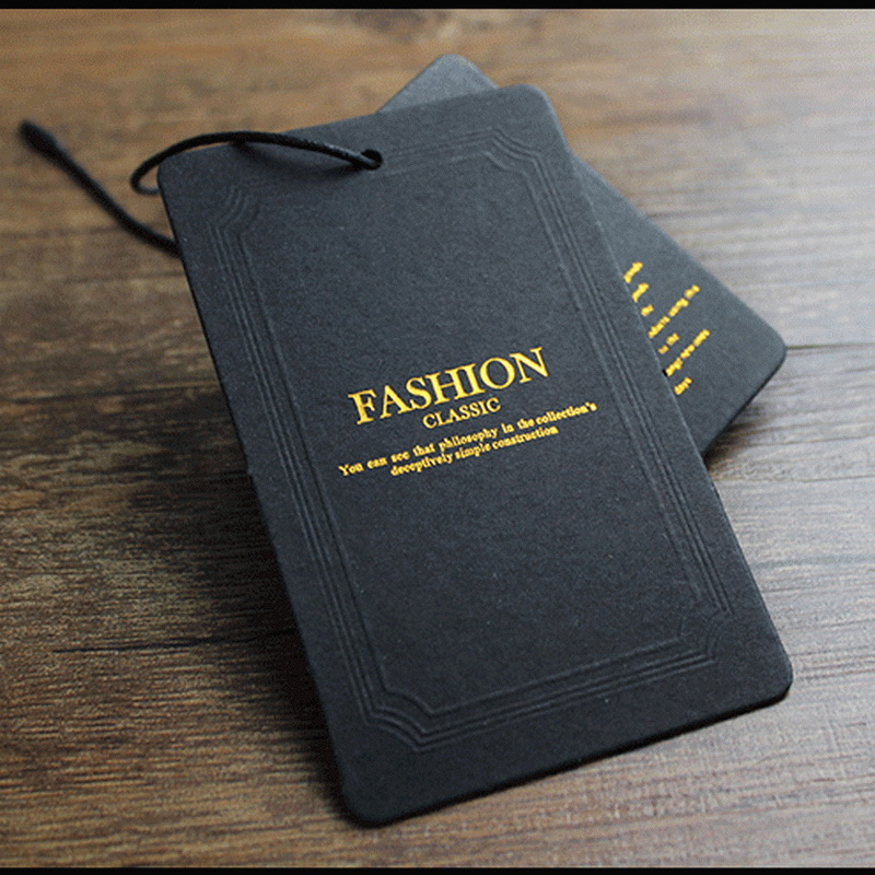 Custom Black Paper Card Gold Stamping Clothing Hang Tags in Garment Tags from Home Garden
