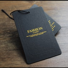 Custom Black Paper Card Gold Stamping Clothing Hang Tags
