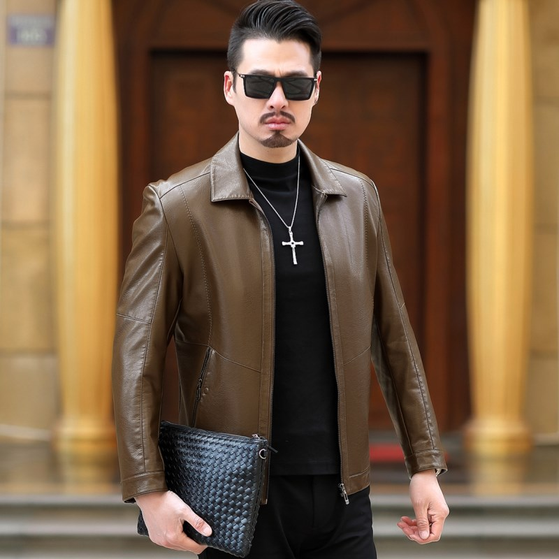 2019 New Arrival Leather Jackets Fashion Men's jacket Male Green Outwear Men's Coats Spring & Autumn PU Thin slim fit Jacket