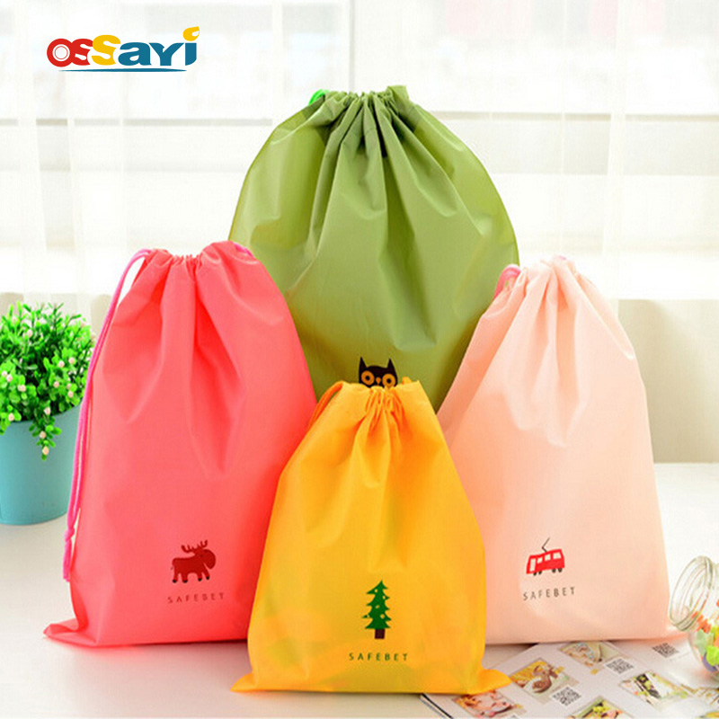 Waterproof PE Drawstring Bag Travel Storage Bag Travel Bag Pouch Clothes Accessories Home Outdoor Shoes Organizer Packing