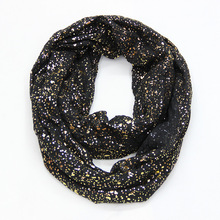Free Shipping 2018 New Europe Fashion Shiny Bronzing Gold Dot Infinity Hijab Scarfs Snood For Women Ladies