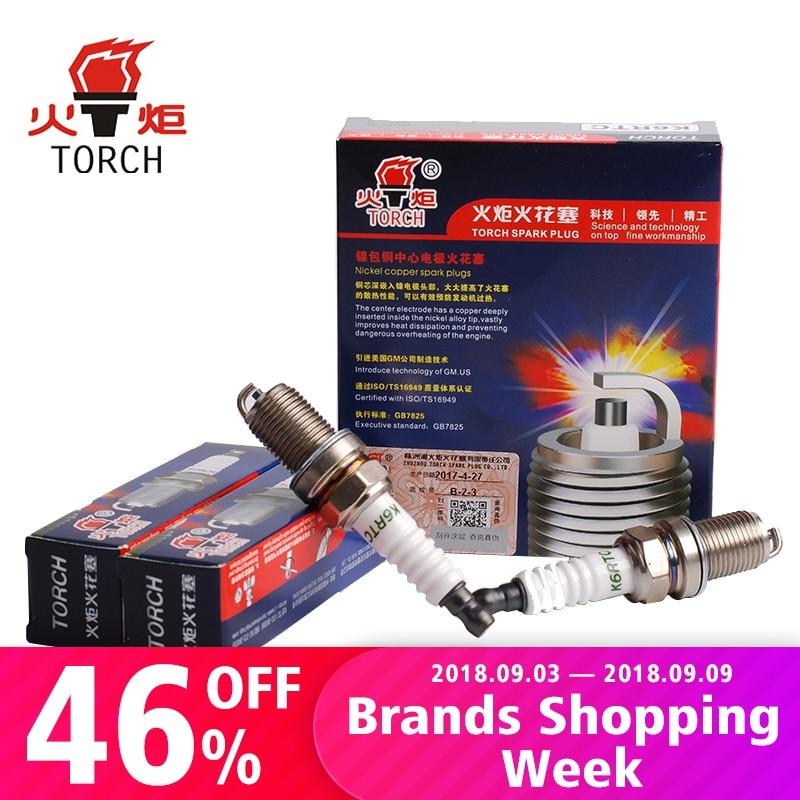 4pcs/Lot TORCH Nickel Alloy Car Spark Plug Car Candles K6RTC for AUDI A2 A3 A4 A6 A6 Allroad Q5 Q7 5303 3764 BKR5EIX-11 FR8DC