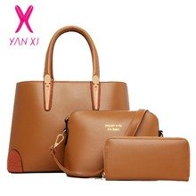YANXI Fashion Lady Tote Shoulder Messenger Designer Handbags Soft Leather China Women Quality Composite Purse Woman Brand Bag