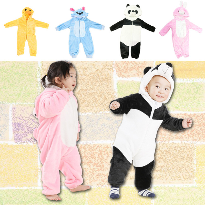 Baby Onesies Boys and Girls Clothes Panda Cosplay Jumpsuit Three-dimensional Styling Baby Clothes Animal Flannel Pajamas