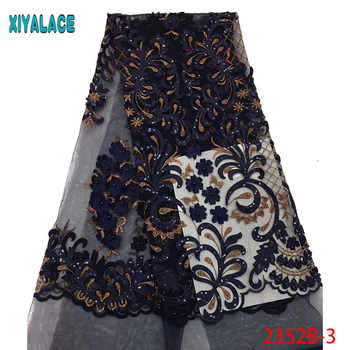 Navy Blue African Tulle Lace Fabric With Beads High Quality Sequins Embroidery French Lace Fabric For Party 5yards PGC2352B-2 - DISCOUNT ITEM  35% OFF All Category