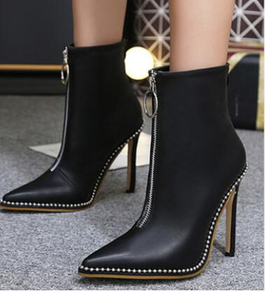 2017 winter new women boots Europe and the United States high-heeled zipper pointed boots beaded wild fashion europe and the united states 2015 new spring shoes and high heeled shoes asakuchi pointy suede 35 41 code